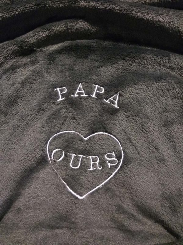 Couverture brodée / Papa ours