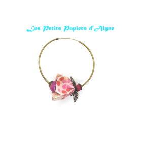 Boucles d'Oreilles Créoles Fleurs Cerisier Rose