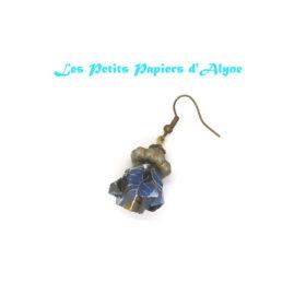 Boucles d'Oreilles Fleur Cerisier Bleu