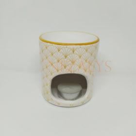 Brûle Parfum Blanc Motifs Dorés